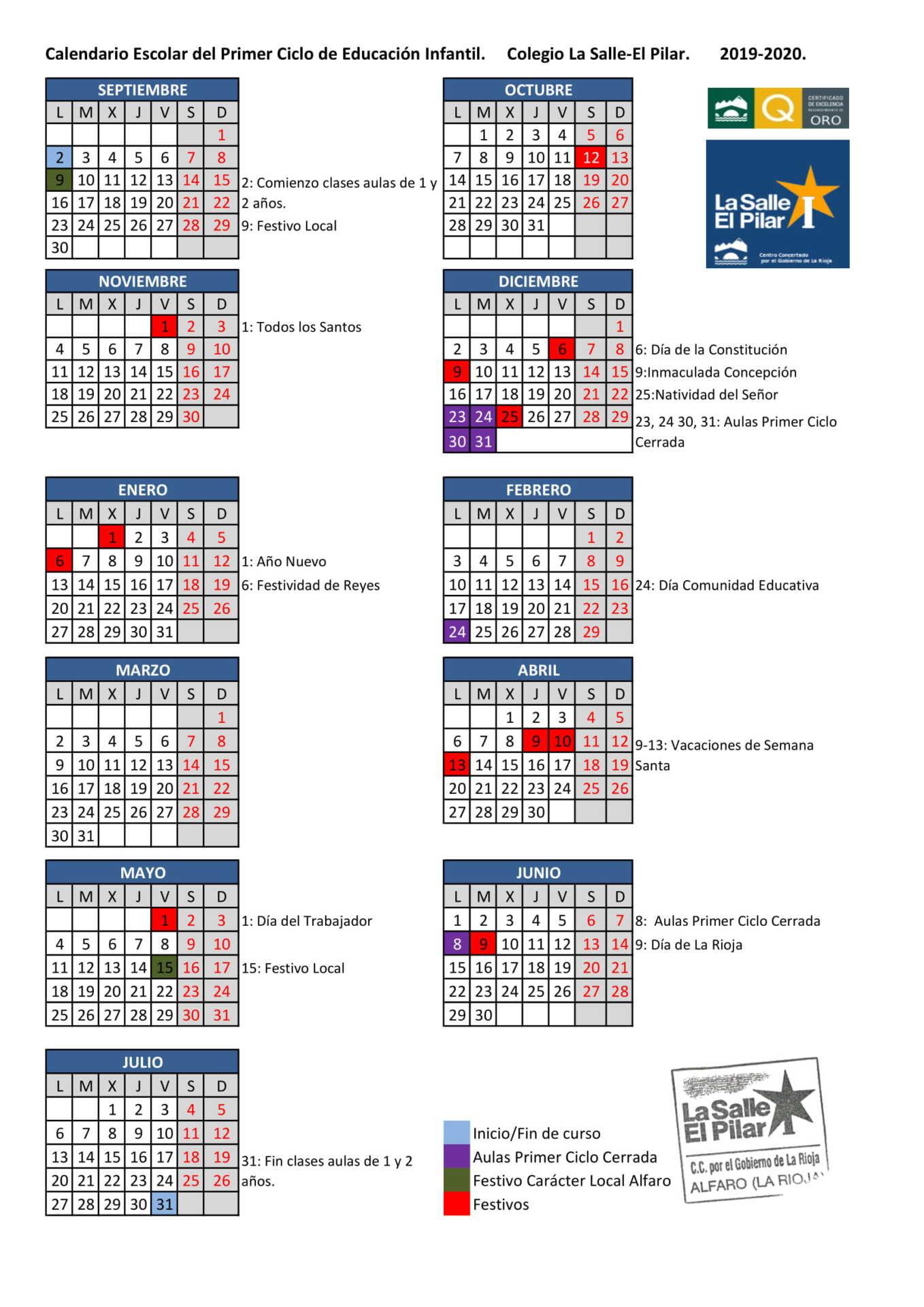 Calendario Escolar Cantabria 2020.Calendario Escolar La Salle El Pilar